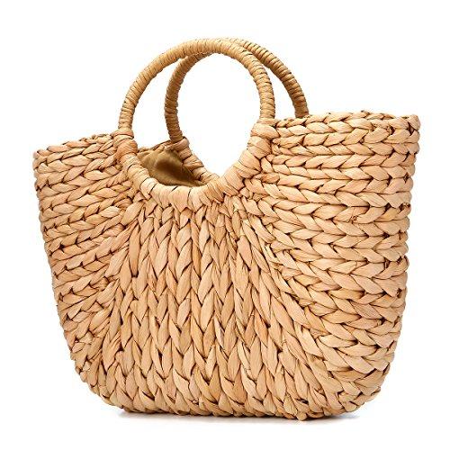 Bolsa de Playa de Verano,JOSEKO Mujer Bolso de Paja Bolsa de Hombro de Paja para Playa Viajar y Uso Diario