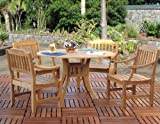 urbandesignfurnishings.com Premium Outdoor Patio Furniture Top Grade Teak Dining 5 Piece Set [4-Arm Chairs, 1-RD.Table]