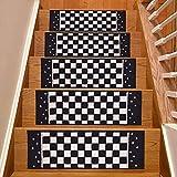 Stair Treads Skid Slip Resistant Backing Indoor Carpet Stair Treads Checkered Black White Design 8 ½ inch x 26 ¼ inch (Set of 13, Black White Grey)