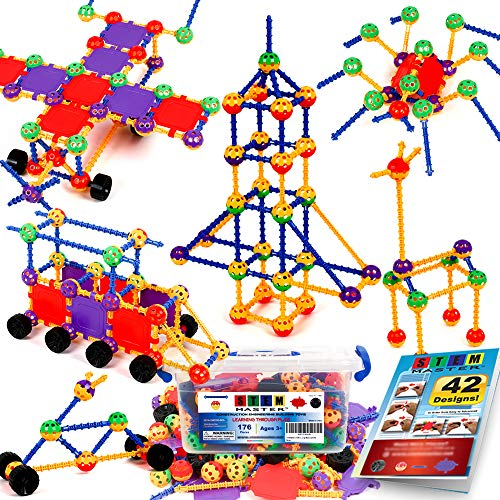 STEM Master 176 Piece STEM Learning Educational Construction Building Toy Gift Set for Boys and Girls