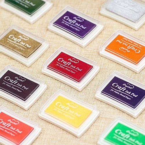Kesote Stempelkissen Set, 15 Farben Stempelfarbe Stempel Tinte für Kinder Papier Handwerk Stoff Fingerabdruck Scrapbook Malerei