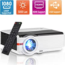 1080P HD Supported Video Projector with 5000 Lumen, LED Home Cinema Projector with Max..