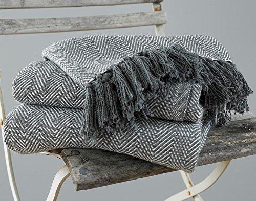 Lancio coperta coperta poltrona 100% cotone a spina di pesce EHC, 150 x 200 cm - Grigio
