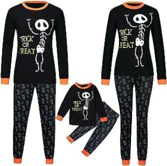 Kehen Matching Family Halloween Pajamas Set,Trick or Treat Skull Print Jammies Holiday Homewear