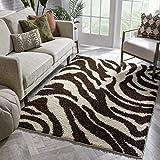 Well Woven Madison Shag Safari Zebra Brown Animal Print Area Rug 5' X 7'2''