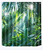 Rideau de Douche Tropical Jungle Plant Rideaux De Salle De Bains Étanche Anti-Moule Vert Banane Feuilles Motif Polyester Tissu Décor À La Maison Accessoires avec 12 Crochets De Rideau 150x180 cm