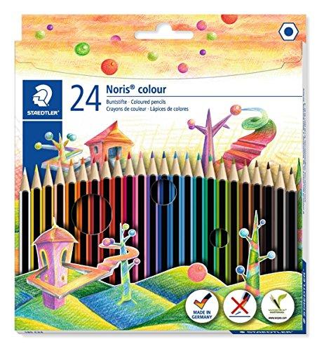 STAEDTLER matite colorate Noris Colour, confezione da 24 colori con tonalit differenti e mine...