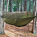 DONGMING Outdoor Double Mosquito Net Camping Hammock Tent Swing Bed Beach Yard Portable Hammock with Net and Tree Straps,Army Green