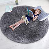 Gray Round Rug for Bedroom,Fluffy Circle Rug 4'X4' for Kids Room,Furry Carpet for Teen's Room,Shaggy Throw Rug for Nursery Room,Fuzzy Plush Rug for Dorm,Grey Carpet,Cute Room Decor for Baby