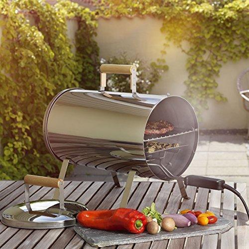 Krollmann - Nuovo Barbecue Affumicatore con Griglia Elettrica 42x24 cm, Potenza 1100 W, Temperatura 150°C