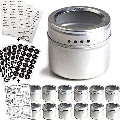 Talented Kitchen 12 Magnetic Spice Tins and 2 Types of Spice Labels. 12 Storage Spice Containers, Magnetic Spice...