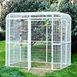 Wonline Large Walk in Bird Cage Iron Birdcages Parakeet Parrot Cockatiel Macaw Finch Lovebird Aviary Heavy Duty Pet House White
