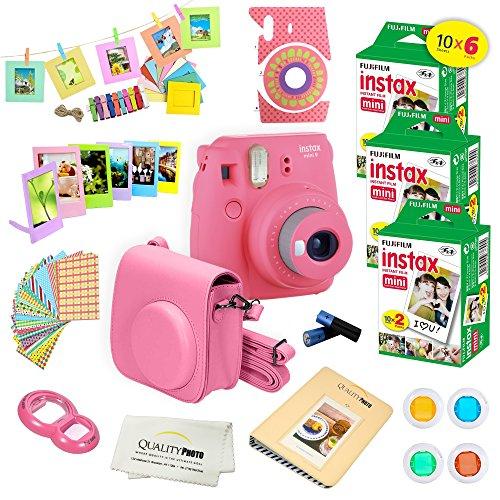 Fujifilm Instax Mini 9 Instant Camera Flamingo Pink w/Fujifilm Instax Mini 9 Instant Films (60 Pack) + A14 Pc Deluxe Bundle for Fujifilm Instax Mini 9 Camera