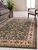 Unique Loom Kashan Collection Traditional Floral Overall Pattern with Border Green Area Rug (4' 0 x 6' 0)