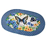 Collections Etc Vintage Spring Butterfly and Flowers 20'x30' Braided Accent Rug, Blue
