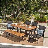 Christopher Knight Home 302561 Salla 6 Piece Outdoor Dining Set, Teak Finish + Rustic Metal + Multibrown