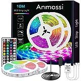 Anmossi Ruban LED 10m,Bandeau LED Multicolore avec Télécommande à Infrarouge 44 Touches et...