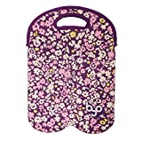 BYO by BUILT NY Two-Bottle Neoprene Wine/Water Tote, Ditzy Floral