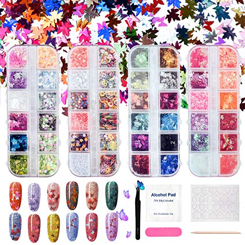 Holographic Butterfly Heart Glitter Nails Sequins, Nail Art Maple Leaves, 48 Colors Nail Sparkles Acrylic for Cosmetic Face Eyes Body Decoration, Nails Tool Kit