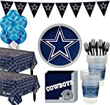 Party City Dallas Cowboys Super Party Supplies for 36 Guests, Include Plates, Napkins, Table Covers, and Balloons
