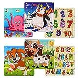 swonuk Puzzle en Bois pour Enfants Jigsaw Puzzle Jouets éducatifs 6 Puzzles en...