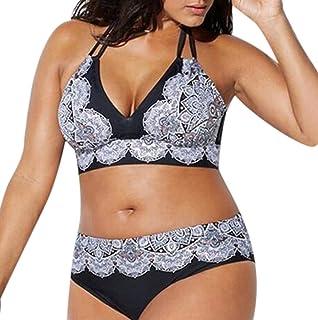 Rawdah-- Donne Taglie Forti Costume da Bagno Plus Size Donna Due Pezzi Ragazza Brasiliana Imbottito Reggiseno Spiaggia Costumi da Bagno Vita Alta Donna Bikini Due Pezzi Mare Push up