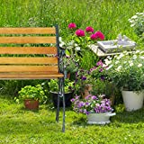 Relaxdays Gartenbank, 2-Sitzer, Holzstreben, Gusseisen, Outdoor, Balkon & Terrasse, Bank HBT 73,5 x 126 x 52,5 cm, natur - 2