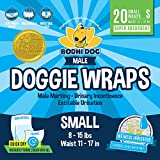 Disposable Dog Male Wraps   20 Premium Quality Adjustable Pet Diapers with Moisture Control and Wetness Indicator   20 Count Small Size
