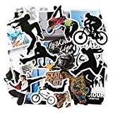 Parkour Extreme Sports Stickers, Waterproof Vinyl Stickers and Decals for Laptop, Water Bottles, Skateboard, Bikes, 50pcs Sticker Pack
