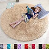 Beige Round Rug for Bedroom,Fluffy Circle Rug 5'X5' for Kids Room,Furry Carpet for Teen's Room,Shaggy Throw Rug for Nursery Room,Fuzzy Plush Rug for Dorm,Beige Carpet,Cute Room Decor for Baby