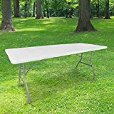 Table Pliante 180 cm d'Appoint Rectangulaire Blanche - Table de Camping 8...