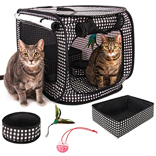"CHEERING PET, Stress Free Cat Cage, Portable Cat Condo Cage, Collapsible Travel Litter Box, Foldable Feeding Bowl,Feather Teaser and Ball, Carrying Bag, Extra Large 32"" X 19"" X 19"" (Checker Board)"