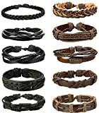 FIBO STEEL 10 Pcs Braided Leather Bracelets for Men Women Cuff Bracelet,Adjustable