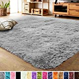 LOCHAS Ultra Soft Indoor Modern Area Rugs Fluffy Living Room Carpets Suitable for Children Bedroom Home Decor Nursery Rug 4x5.3 Feet, Gray