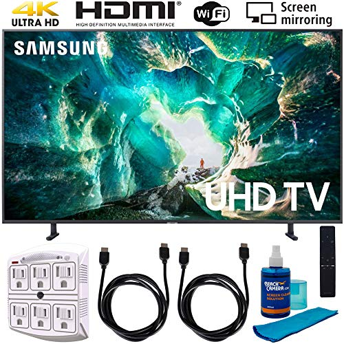 """Samsung UN49RU8000 49"""" RU8000 LED Smart 4K UHD TV (2019) w/Accessories Bundle Includes, 2X 6ft HDMI Cable, Universal Screen Cleaner (Large Bottle) and SurgePro 6-Outlet Surge Adapter w/Night Light"""