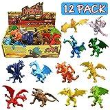 12 pièces Jouets Dragons,4 Pouces Mini Dragons Lots Avec Boîte Cadeau, Monde...