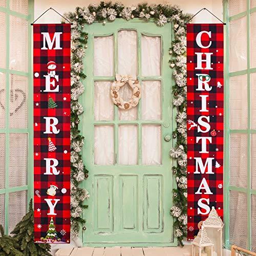 Eaaglo Buffalo Plaid Christmas Decorations Outdoor Happy New Year Door Decor Christmas Door Banner Christmas Porch Sign Welcome Sign Decoration Christmas Porch Decorations Merry Christmas Decoration