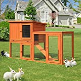 Esright Rabbit Hutch 54.3'' Rabbit Cage Outdoor Large Wooden Bunny House with Ventilation Door, Removable Tray and Ramp (Flat-Topped)