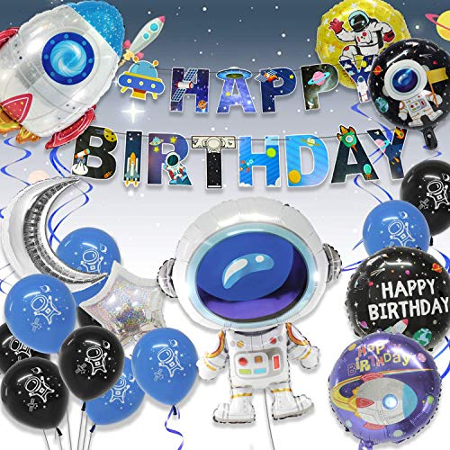 Pushingbest Decoraciones Cumpleaños, Decoraciones de Fiesta temáticas del Espacio Exterior, Astronauta Cohete Globos Foil y Happy Birthday Pancarta Colgar Remolino Astronauta Globos de Látex.