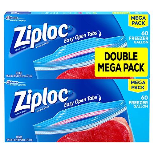 Ziploc Freezer Bags, Gallon, 60 Count, Pack of 2