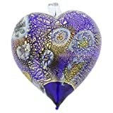 GlassOfVenice Murano Glass Millefiori Heart Christmas Ornament - Blue Gold