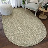 Super Area Rugs, Freeport Braided Collection Wool Mix Rug Green & Ivory,4' x 6' Oval