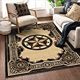 Allstar 8x10 Traditional Accent Rug in Berber with Chocolate Western Texas Star Design (9' 8' x 7' 9')