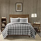 Woolrich Buffalo Check King/Cal King Size Quilt Bedding Set - Gray, Checker Plaid – 3 Piece Bedding Quilt Coverlets – 100% Cotton Bed Quilts Quilted Coverlet
