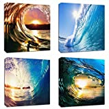 4Pcs 12x12 Canvas Wood Stretched Blue Ocean Wave Surfing Sea Sunset Motivational Theme Pink Frame Landscape Abstract Modern Art For Home Room Office Wall Print Decor 12x12' inch (30x30cm) (Canvas Not HD Ptints)