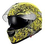 1Storm Motorcycle Full Face Helmet Dual Lens/Sun Visor Matt Skull Yellow