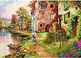 HUADADA Puzzle 1000 Pièces Adultes, Puzzle Paysage Cabane de Campagne et Fleur Puzzle Enfant 1000 Pieces (70x50cm)