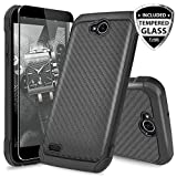 LG X Power 2 M320/LG Fiesta LTE/LG X Charge/LG Fiesta 2 Case, with TJS [Full Coverage Tempered Glass Screen Protector] Shock Absorbing Armor Case Carbon Fiber Back with Hard TPU Inner Layer (Black)