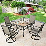 Ulax Furniture 5 Piece Outdoor Dining Set Patio Furniture Dining Table Set with 4 Sling Swivel Dining Chairs and 1 Dining Table