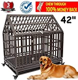 TQ PET Roof Dog Cage Crate Kennel 42'' Heavy Duty Large Homestead Serise Large Dogs Patent Lock, Tray Four Wheels, Update